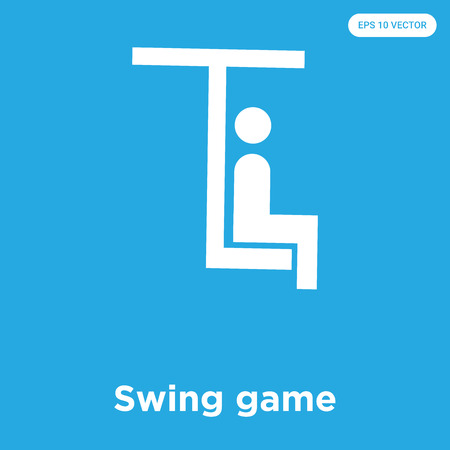 Swing game vector icon isolated on blue background, sign and symbol, Swing game icons collection