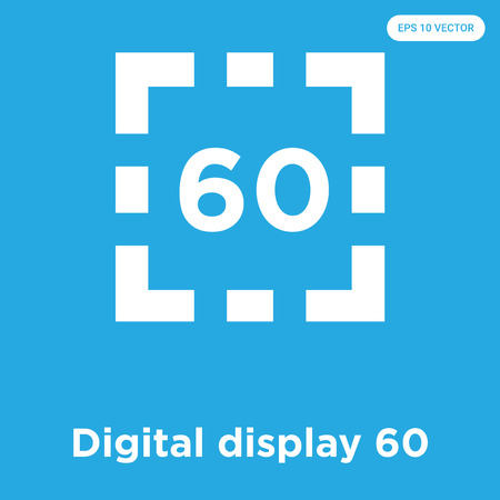 Digital display 60 vector icon isolated on blue background, sign and symbol, Digital display 60 icons collection  イラスト・ベクター素材