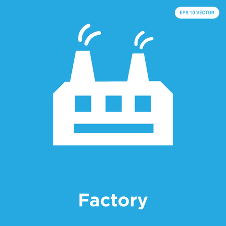 Factory vector icon isolated on blue background, sign and symbol, Factory icons collection