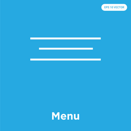 Menu vector icon isolated on blue background, sign and symbol, Menu icons collection