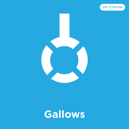 Gallows vector icon isolated on blue background, sign and symbol, Gallows icons collection 写真素材 - 105413812