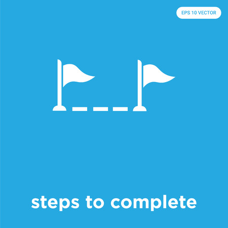 steps to complete vector icon isolated on blue background, sign and symbol, steps to complete icons collection