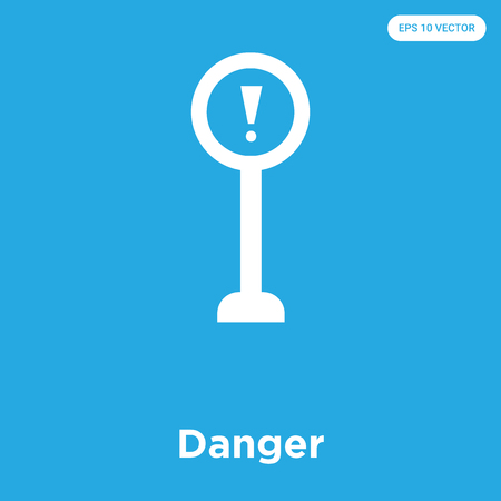Danger vector icon isolated on blue background, sign and symbol, Danger icons collection Vectores