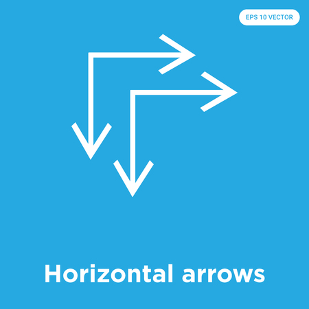 Horizontal arrows vector icon isolated on blue background, sign and symbol, Horizontal arrows icons collection