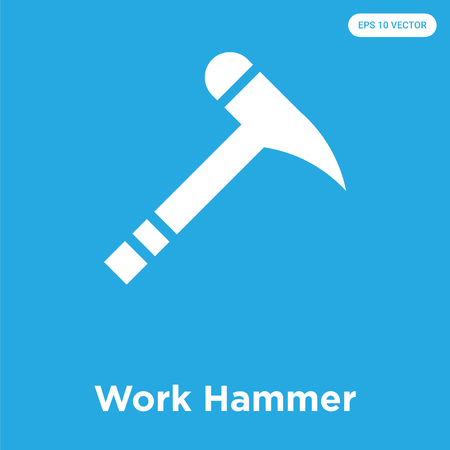 Work Hammer vector icon isolated on blue background, sign and symbol, Work Hammer icons collection