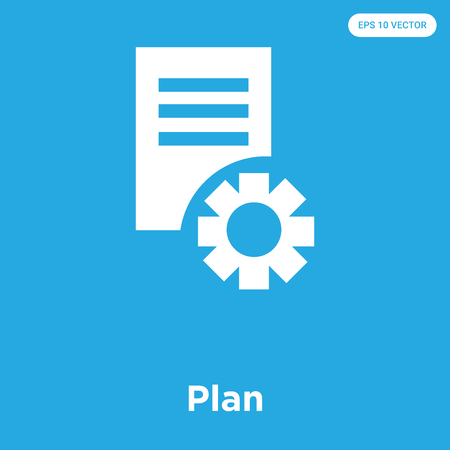 Plan vector icon isolated on blue background, sign and symbol, Plan icons collection