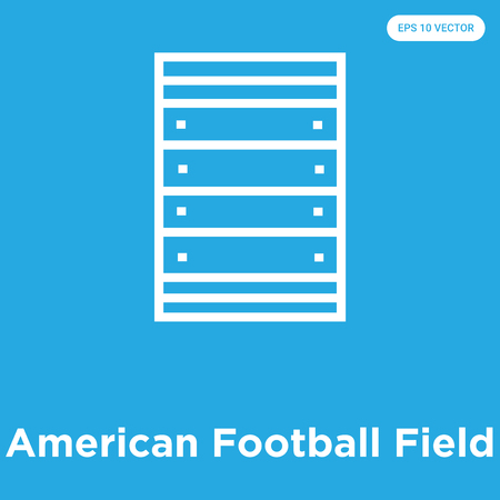 American Football Field vector icon isolated on blue background, sign and symbol, American Football Field icons collection