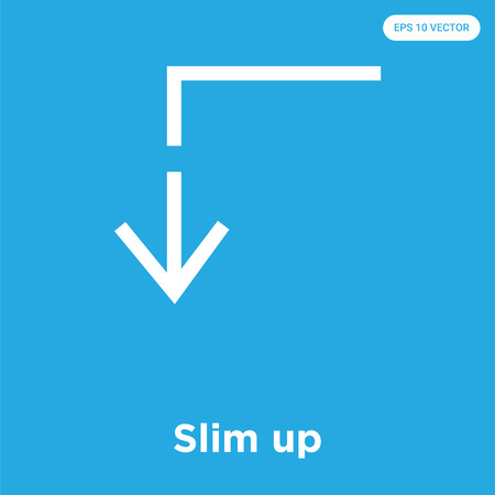 Slim up vector icon isolated on blue background, sign and symbol, Slim up icons collection