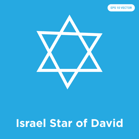 Israel Star of David vector icon isolated on blue background, sign and symbol, Israel Star of David icons collection