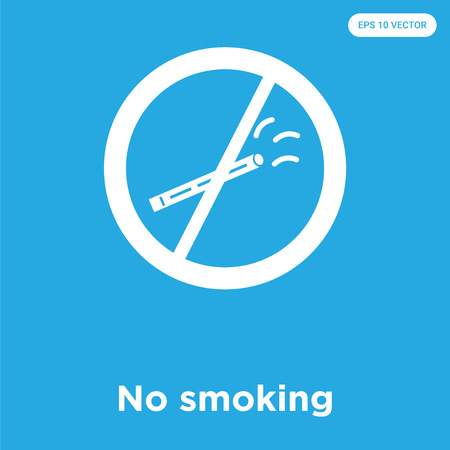 No smoking vector icon isolated on blue background, sign and symbol, No smoking icons collection