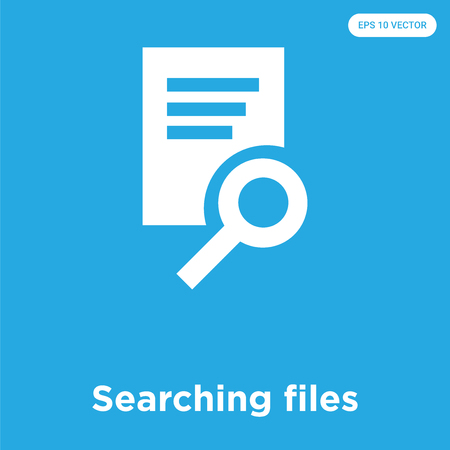 Searching files vector icon isolated on blue background, sign and symbol, Searching files icons collection