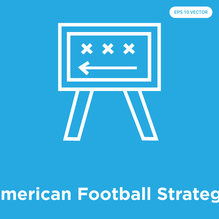 American Football Strategy vector icon isolated on blue background, sign and symbol, American Football Strategy icons collection