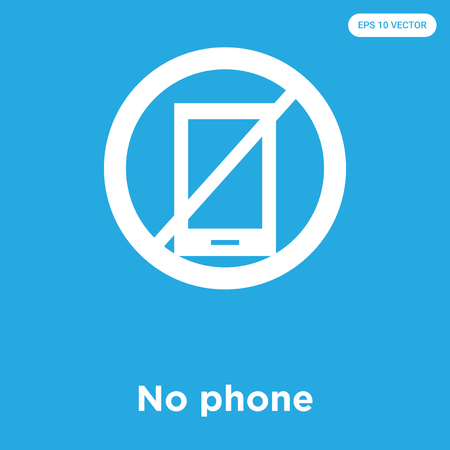 No phone vector icon isolated on blue background, sign and symbol, No phone icons collection