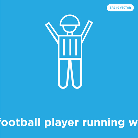 American football player running with the ball vector icon isolated on blue background, sign and symbol, American football player running with the ball icons collection
