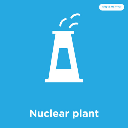 Nuclear plant vector icon isolated on blue background, sign and symbol, Nuclear plant icons collection