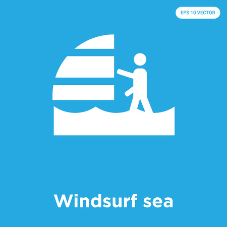Windsurf sea vector icon isolated on blue background, sign and symbol, Windsurf sea icons collection