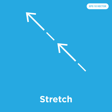 Stretch vector icon isolated on blue background, sign and symbol, Stretch icons collection Foto de archivo - 114805862