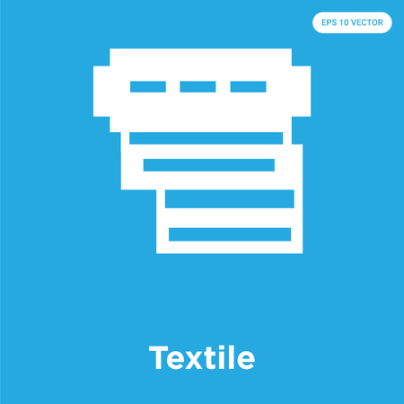 Textile vector icon isolated on blue background, sign and symbol, Textile icons collection