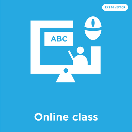 Online class vector icon isolated on blue background, sign and symbol, Online class icons collection Çizim