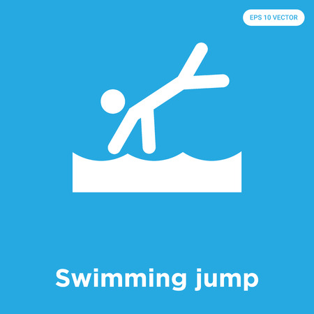 Swimming jump vector icon isolated on blue background, sign and symbol, Swimming jump icons collection Illustration