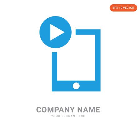 Ipad video player company logo design template, Ipad video player logotype vector icon, business corporative