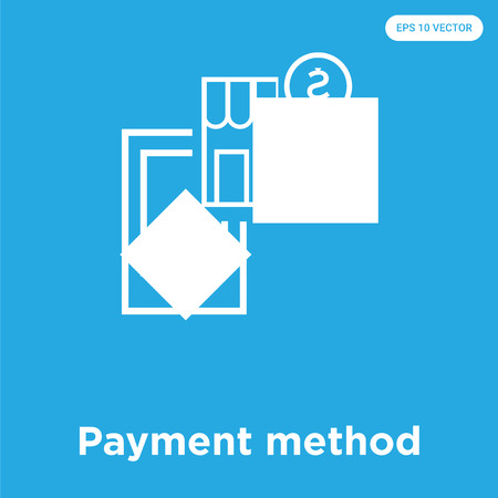 Payment method vector icon isolated on blue background, sign and symbol, Payment method icons collection