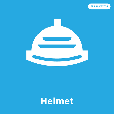 Helmet vector icon isolated on blue background, sign and symbol, Helmet icons collection