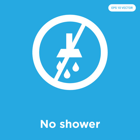 No shower vector icon isolated on blue background, sign and symbol, No shower icons collection
