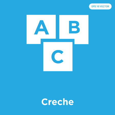 Creche vector icon isolated on blue background, sign and symbol, Creche icons collection