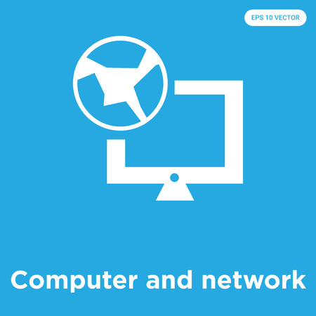 Computer and network vector icon isolated on blue background, sign and symbol, Computer and network icons collection Illustration