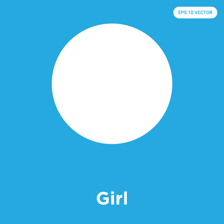 Girl vector icon isolated on blue background, sign and symbol, Girl icons collection Illustration