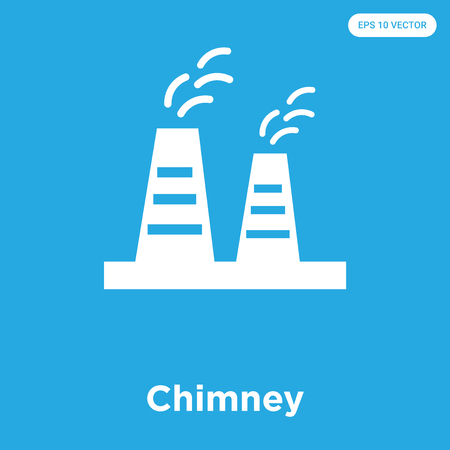 Chimney vector icon isolated on blue background, sign and symbol, Chimney icons collection Illustration