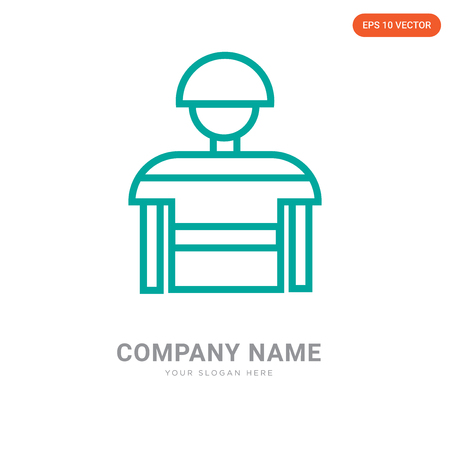 Football player company logo design template, Football player logotype vector icon, business corporative