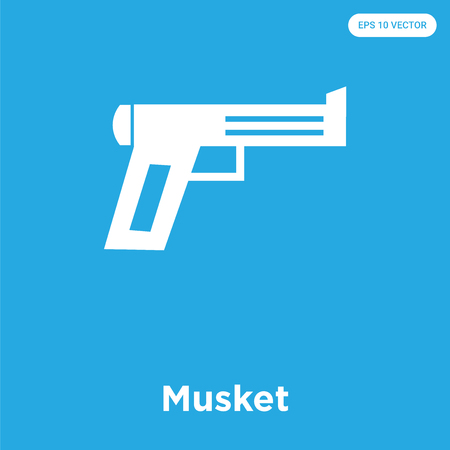 Musket vector icon isolated on blue background, sign and symbol, Musket icons collection