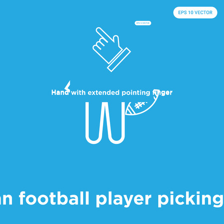 American football player picking the ball vector icon isolated on blue background, sign and symbol, American football player picking the ball icons collection Illustration