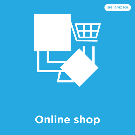 Online shop vector icon isolated on blue background, sign and symbol, Online shop icons collection 向量圖像