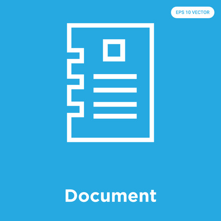 Document vector icon isolated on blue background, sign and symbol, Document icons collection