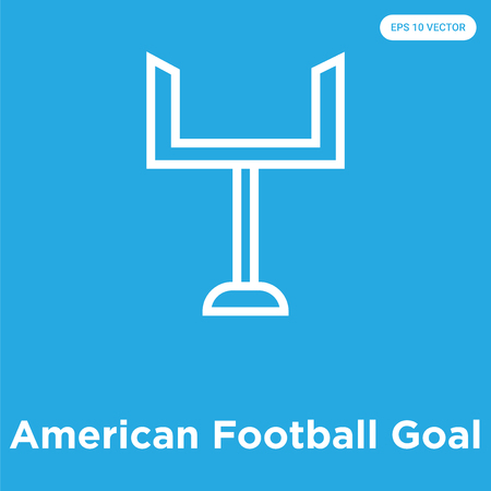 American Football Goal vector icon isolated on blue background, sign and symbol, American Football Goal icons collection