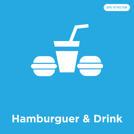 Hamburguer & Drink vector icon isolated on blue background, sign and symbol, Hamburguer & Drink icons collection Illustration