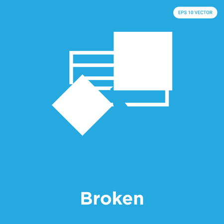 Broken vector icon isolated on blue background, sign and symbol, Broken icons collection
