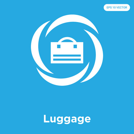 Luggage vector icon isolated on blue background, sign and symbol, Luggage icons collection Vectores