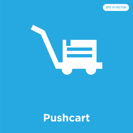 Pushcart vector icon isolated on blue background, sign and symbol, Pushcart icons collection