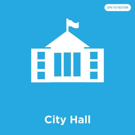 Icône de vecteur de l'hôtel de ville isolé sur fond bleu, signe et symbole, collection d'icônes de l'hôtel de ville