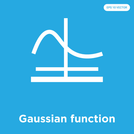 Icône de vecteur de fonction gaussienne isolé sur fond bleu, signe et symbole, collection d'icônes de fonction gaussienne Vecteurs