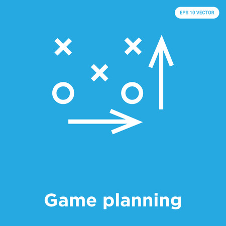 Game planning vector icon isolated on blue background, sign and symbol, Game planning icons collection