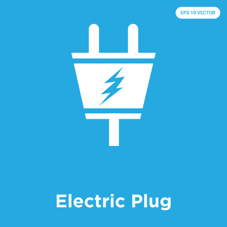 Electric Plug vector icon isolated on blue background, sign and symbol, Electric Plug icons collection Ilustração