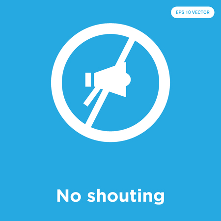 No shouting vector icon isolated on blue background, sign and symbol, No shouting icons collection