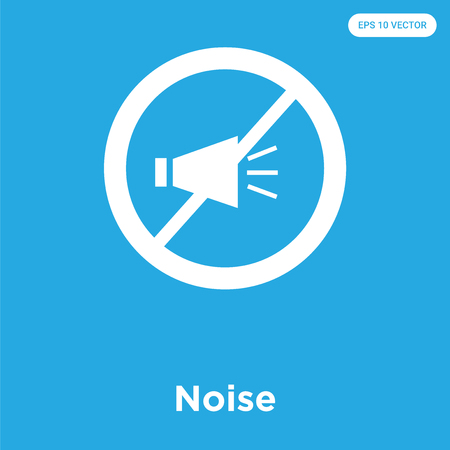 Noise vector icon isolated on blue background, sign and symbol, Noise icons collection Çizim