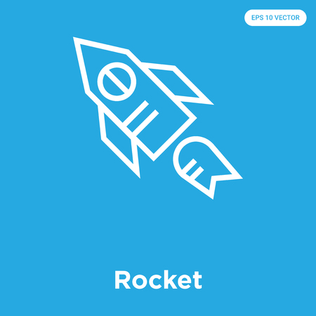 Rocket vector icon isolated on blue background, sign and symbol, Rocket icons collection Çizim