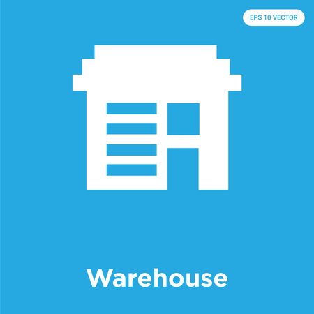 Warehouse vector icon isolated on blue background, sign and symbol, Warehouse icons collection